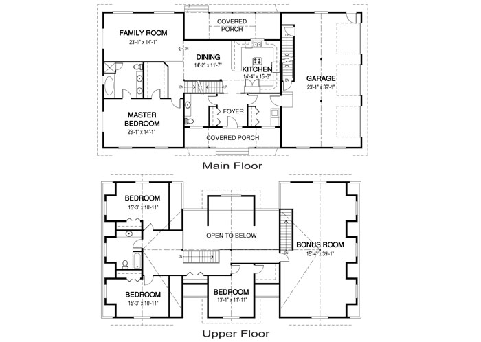 Mcclennan post and beam family cedar home plans cedar homes for Post and beam house plans floor plans
