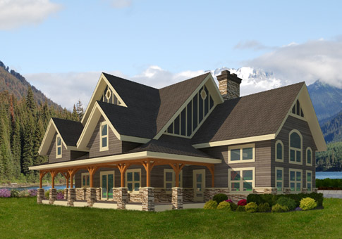 Ainsworth post and beam family cedar home plans cedar homes for Post beam home plans