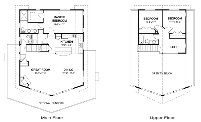 Alpine post and beam retreats cottages home plans for Post and beam house plans floor plans