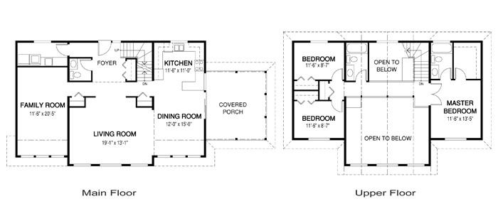Amherst post and beam family cedar home plans cedar homes for Post and beam house plans floor plans