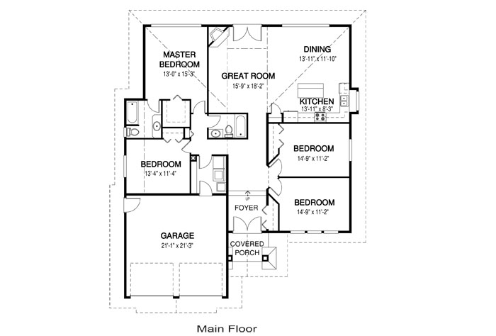 Arizona post and beam family cedar home plans cedar homes for Post and beam house plans floor plans