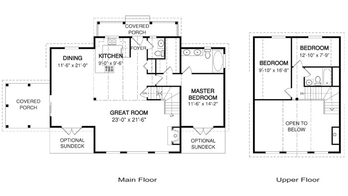 Bayshore post and beam retreats cottages home plans for Post and beam house plans floor plans