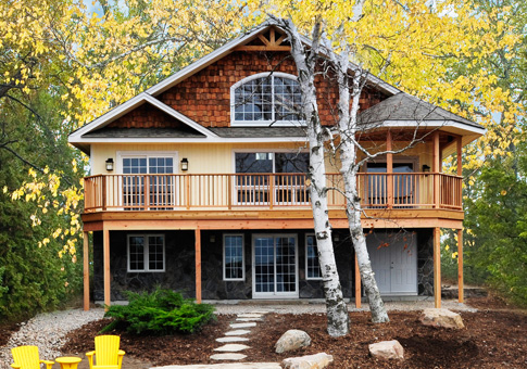 Birchview Post And Beam Cabin Garage Cedar Home Plans