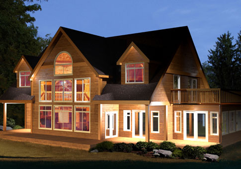 Burnside post and beam retreats cottages home plans for Cedar home designs