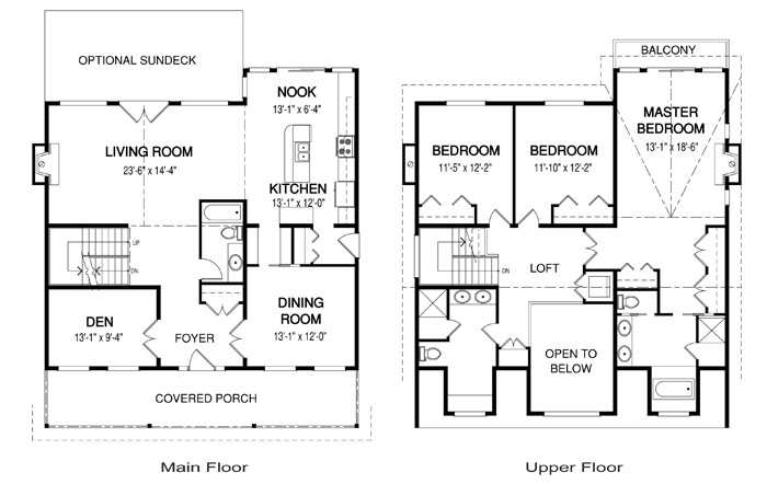 Cabot post and beam retreats cottages home plans cedar for Post and beam house plans floor plans