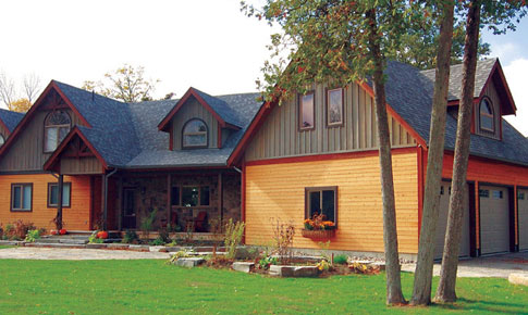 Craftsman post and beam family cedar home plans cedar homes for Craftsman log home plans