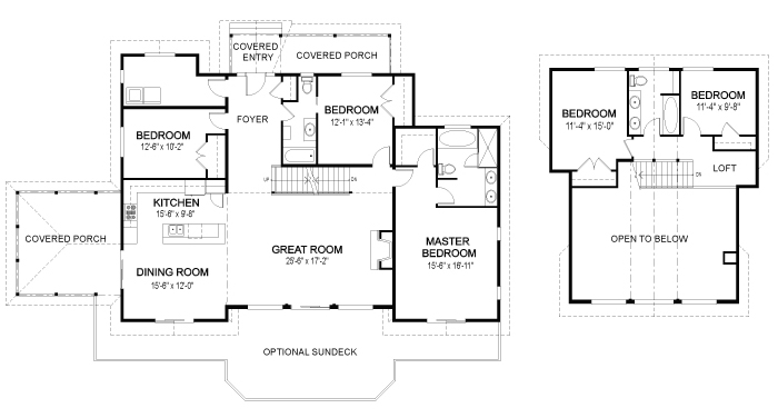 Eagle landing post and beam retreats cottages home plans for Post and beam house plans floor plans
