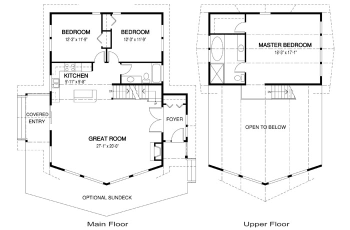 Fairmont post and beam family cedar home plans cedar homes for Post and beam house plans floor plans