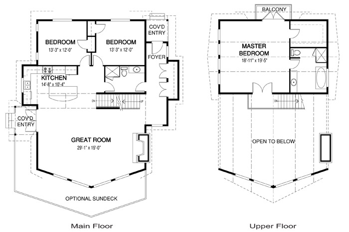 Fairmont 2 post and beam retreats cottages home plans for Cedar homes floor plans