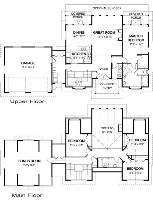 Hartley post and beam family cedar home plans cedar homes for Cedar home floor plans