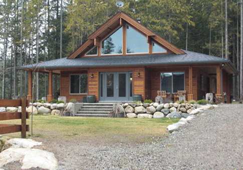 Juneau post and beam family cedar home plans cedar homes for Ranch home kits