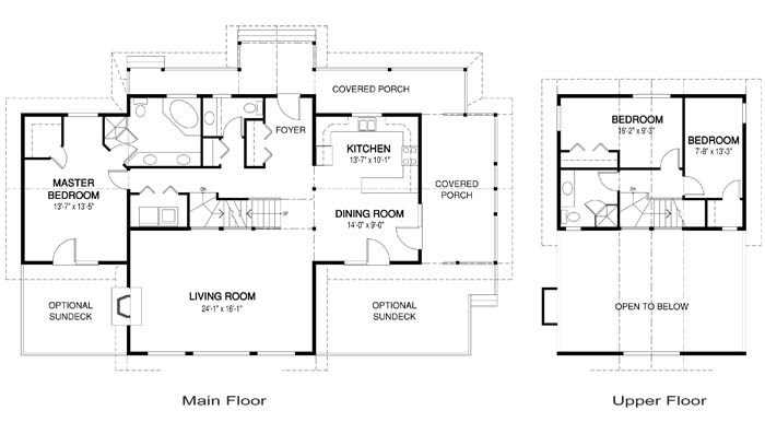 Lakefield post and beam family cedar home plans cedar homes for Cedar homes floor plans