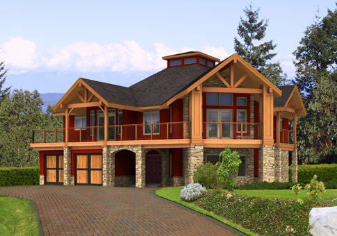 Longview post and beam family cedar home plans cedar homes for Post beam home plans