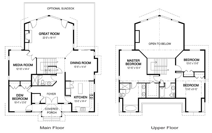 Strathcona post and beam retreats cottages home plans for Post and beam house plans floor plans