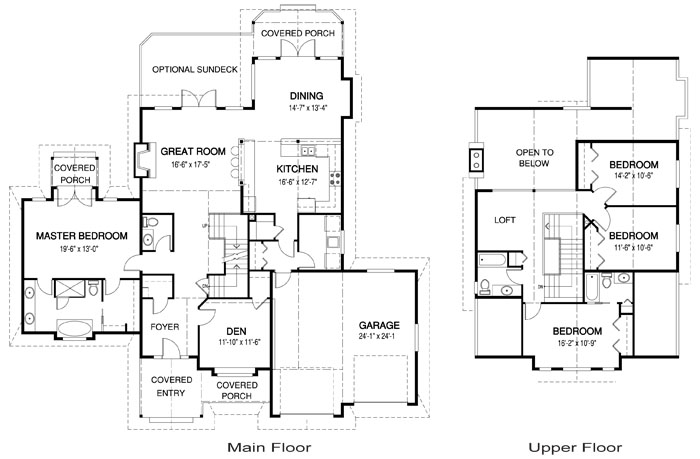 Tahoma post and beam family cedar home plans cedar homes for Post and beam house plans floor plans