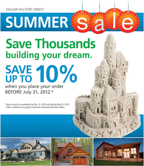 Cedar Homes Summer Sale
