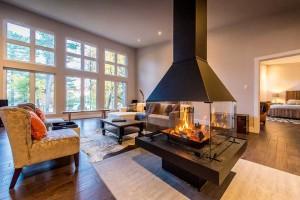 Modern Homes Center Fireplace Custom Cedar Homes Amp House