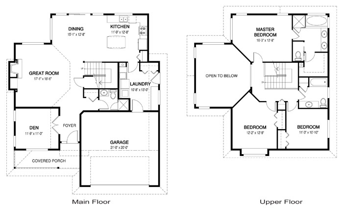House plans the bayside 2 cedar homes for Floor plans vaulted ceilings