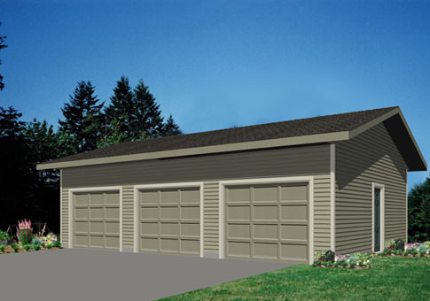 House plans garage 3 cedar homes for Three car garage kits