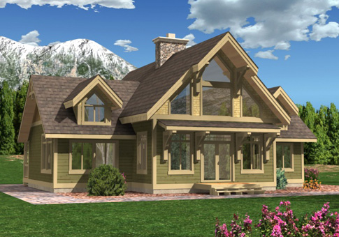 House plans the acadia cedar homes for Small timber frame home plans