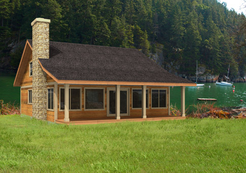 House plans the sandpiper cedar homes for Small post and beam cabin plans