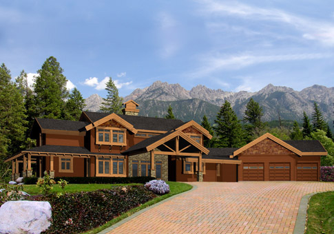 Woodburn Post and Beam Family Cedar Home Plans
