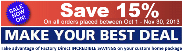 Cedar Homes Save 15% Factory Direct Home Packages