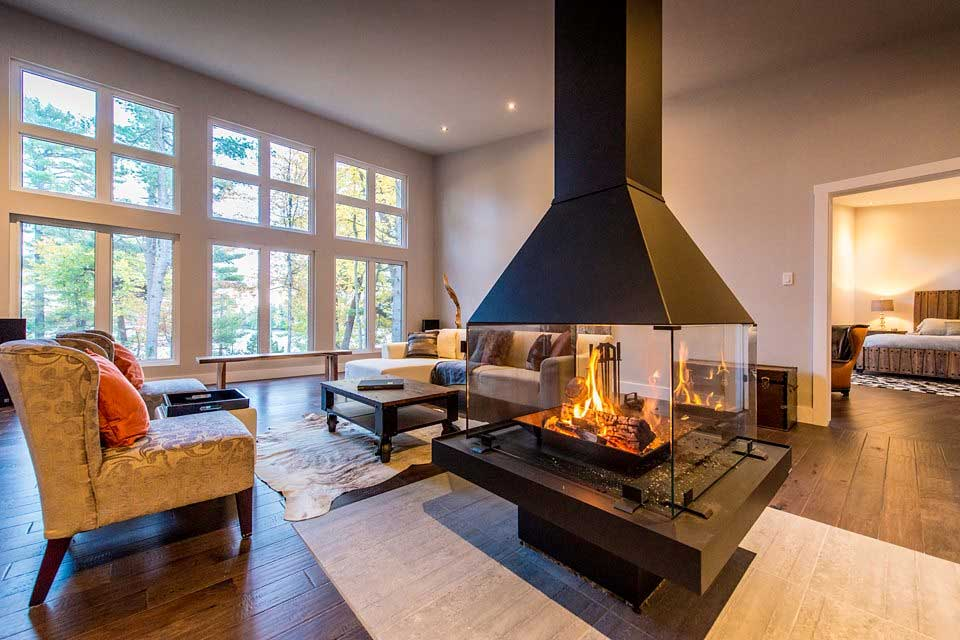 modern homes center fireplace custom cedar homes house